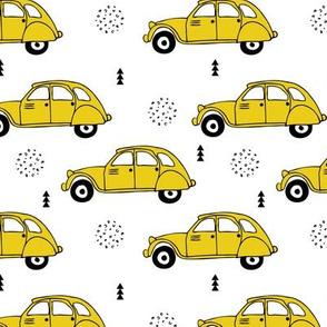 Cool vintage oldtimer cars paris collection geometric scandinavian illustration design for kids mustard yellow