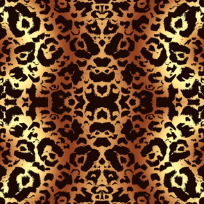Golden Brown Animal Print Damask