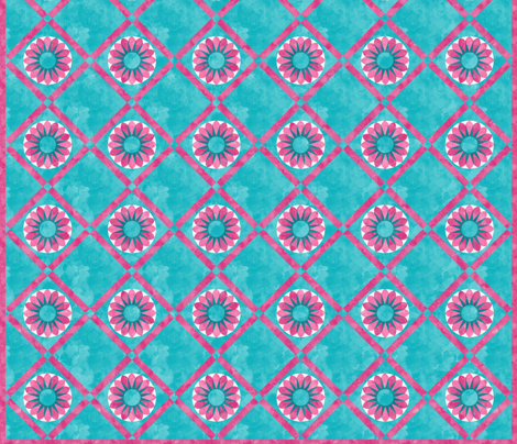 Cheater Quilt Sunflower 8in Pink Aqua