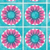 Cheater Quilt Sunflower 8in Pink Aqua