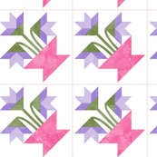 Cheater Quilt Basket Of Lilies Block 8in Lilac Pink Green