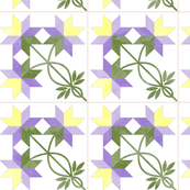 Cheater Quilt Double Peony Block 8in Lilac Yellow Green