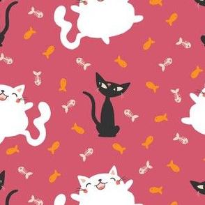 Happy Fat Kawaii Cat - Pink