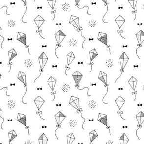 Trendy geometric kites scandinavian style kite illustration fabric for kids black and white gender neutral