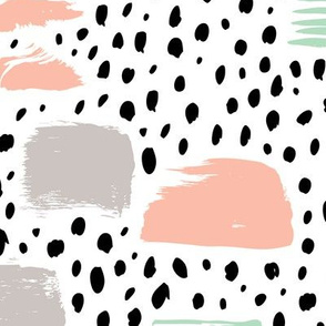Strokes dots cross and spots raw abstract brush strokes memphis scandinavian style mint coral