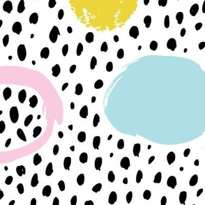 Circles dots and spots raw abstract brush strokes memphis scandinavian style multi color