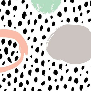 Circles dots and spots raw abstract brush strokes memphis scandinavian style mint coral