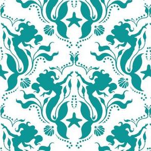 Mermaid Damask Teal/White