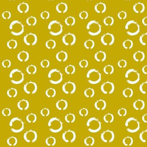 mustard and white dots