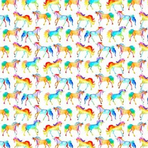 Rainbow watercolour unicorns - smaller scale