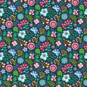 Bohemian Botanical Flowers Floral on Navy Small Tiny