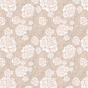 wood cut roses - white/blush