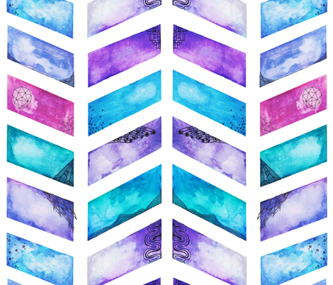 Watercolour Doodled Chevrons