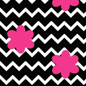 Black Chevron Hot Pink Floral