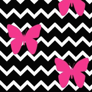 Black Chevron Hot Pink Butterfly