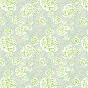 wood cut roses - white/spring/mint