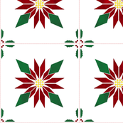 Cheater Quilt Christmas Poinsettia Block 11in Red Green Gold