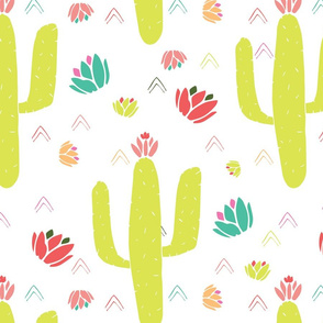 Green Cacti and Desert Flowers