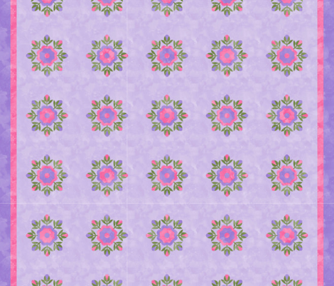 Cheater Quilt Rose Bud Wreath 8in Lilac Pink Green