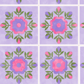 Cheater Quilt Rose Bud Wreath Blocks 8in Lilac Pink Green