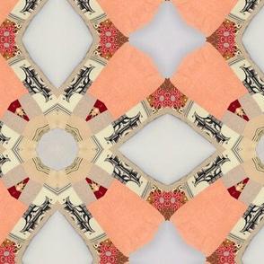 Peach patchwork cheater. Quilt