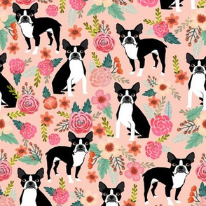 Boston Terrier Sweet watercolor flowers florals spring dogs pet puppy