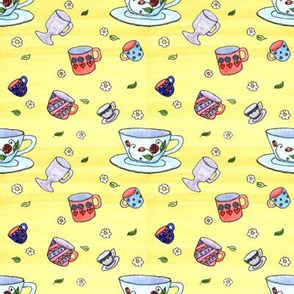 Watercolor Tea Cups Yellow