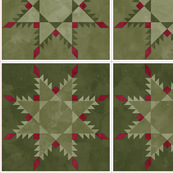 Cheater Quilt Feathered Star Block 11in Olive Maroon