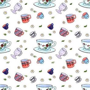 Watercolor Tea Cups White