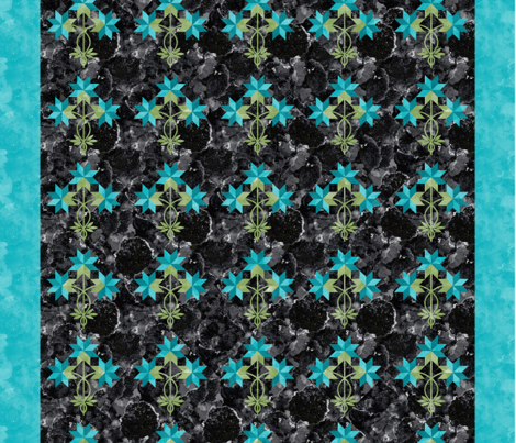 Cheater Quilt Double Peony Block 8in Aqua Green Black