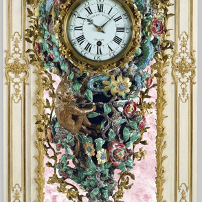 Pompadour Clock on Poisson Pink Marble