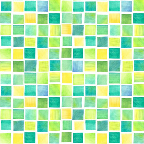 Watercolor Squares: Backyard
