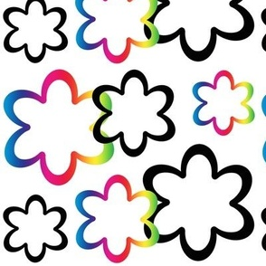 Rainbow Floral Flower Abstract Design