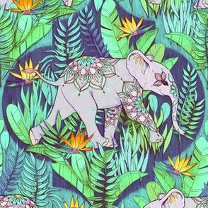 Little Elephant on a Jungle Adventure - faded vintage version