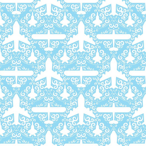 Aircraft Damask (Blue)