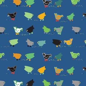 Chickens & Ducks - blue, green & yellow