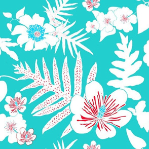 Bold Fern Floral - Turquoise and Red
