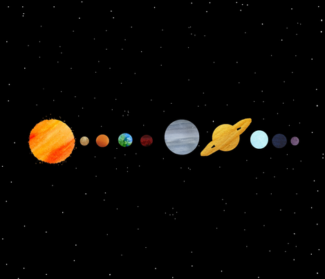 Watercolour solar system wallpaper mmarie designs for Solar system fabric