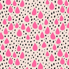 Abstract love and rain drops and dots geometric memphis style design pink black and beige