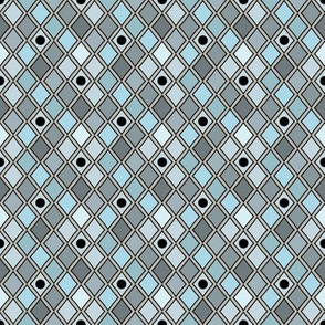 Harlequin Blue Black Dots on Gray