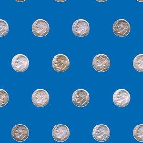 Dean's Silver Dimes ~ Polka Dots on Blue