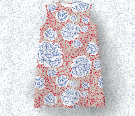 woodcut roses - white/red/denim blue