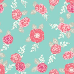 flowers pink and green sweet spring vintage flowers florals hand-painted flower print