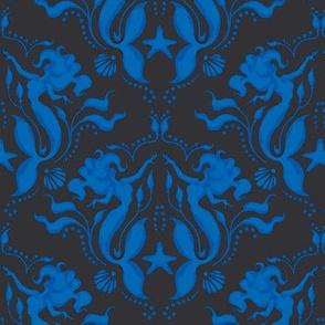 Mermaid Damask-Royal Blue/Black - PG