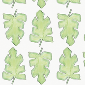 Watercolor Palm Leaf Pattern on White