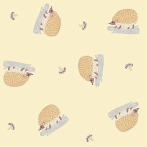 ditsy hedgehogs in cream