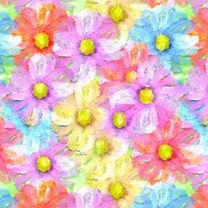 Spring Daisies in purple, yellow and blue  in watercolor style