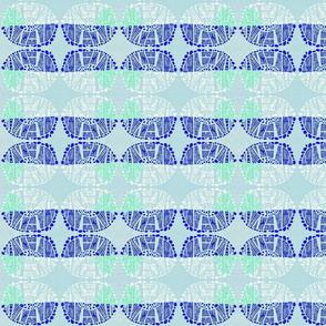 oval blue linocut