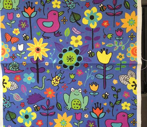 Ducks & Frogs in the Garden - Blue