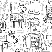 robot pattern - black & white - large